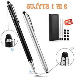 iDream365 2pcs 3-in-1 Stylus Pen Stainstainless Steel With G