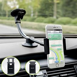Car Phone Mount, Newward 2 Clamps Long Arm Universal Windshi