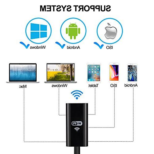 Power Endoscope, Waterproof LED Inspection Camera, Megapixel WiFi Borescope for Android, Tablet-16.4 FT/5M