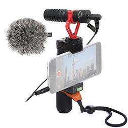 Movo Smartphone Video Rig with Shotgun Microphone, Grip Hand