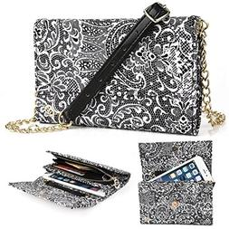 EnvyDeal Timeless Black Paisley Wallet Case for Women Fits G