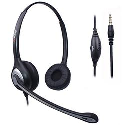 Wantek Wired Cell Phone Headset Dual with Noise Canceling Mi